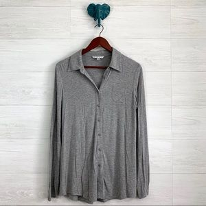 CAbi Heathered Gray Soft Knit Button Down Top